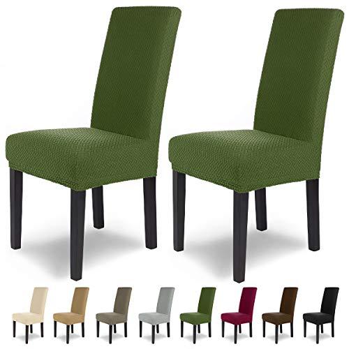 SCHEFFLER-Home Stretch Stuhlhusse Luna | 2er Set elastische Flanell Stuhlabdeckungen | Stuhlhussen Schwingstühle | Spannbezug mit Gummiband | Elegante Stuhlbezüge aus Samt