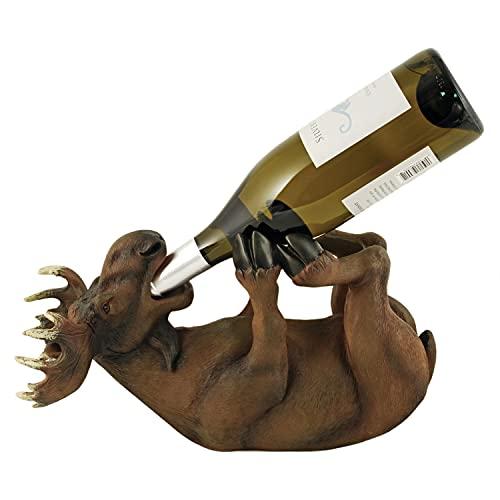 True Mischievous Moose Polyresin Wine Bottle Holder Set of 1, Brown, Holds 1 Standard Wine Bottle
