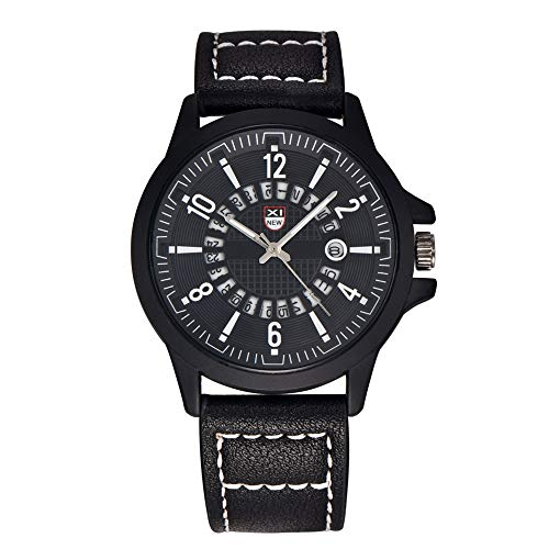 SJXIN Stilvolle Uhr XINEW Uhren Mens Military Leder Datum Quarz Armbanduhr Modeuhren (Color : 5)
