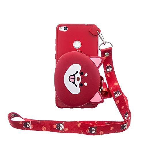 KANTAS 3D Cover per Huawei P8 Lite 2017 Custodia Orso Rossa Bella Morbida Design Borsa a Tracolla Sottile TPU Silicone Protezione Case Portafoglio Gomma Gel Soft Bumper Silicone Case