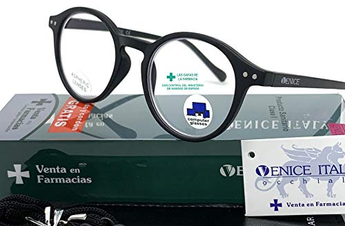 New Model Gafas de lectura con filtro bloqueo de luz azul para gaming, ordenador, móvil. Anti fatiga Lennon Professional Executive UNISEX venice (Negro, 3.00)