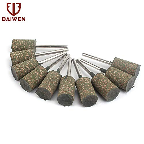 Sale!! Xucus 12mm Rubber Grinding Head Cylindrical Polishing Head 10-100Pcs Accessories - (Grit: 10)