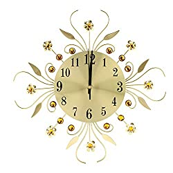 Luxury Crystal Iron European Style Metal Modern Flower-Shaped Wall-Mounted Clock Diamond Hanging Mute Decorative Clock Wall Clock for Living Room Bedroom Office Dining Room