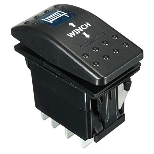 Botón de interruptor de encendido 12 V 24 V Barco Marine LED Rocker Switch Winch Out ON-OFF-ON Interruptores basculantes dobles LED luz azul, rojo, naranja, verde y blanco (color: azul)