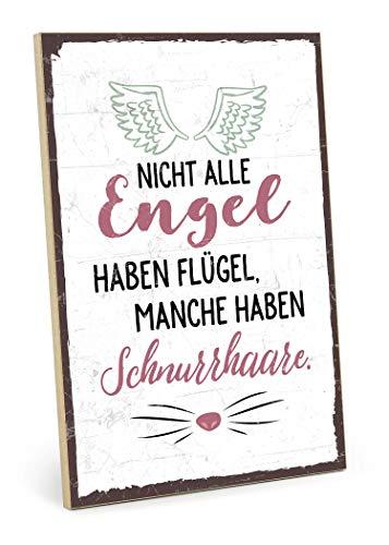 TypeStoff Holzschild mit Spruch – SCHNURRHAARE – im Vintage-Look mit Zitat als Geschenk und Dekoration zum Thema Katze und Engel (19,5 x 28,2 cm)