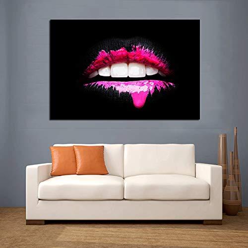 Wenqike Pintura Decorativa Moderna de Labios Rosados, Carteles Impresos de Arte de Pared, Arte Abstracto para Sala de Estar, Impresiones en Lienzo, Cuadros sin Marco 30x45cm