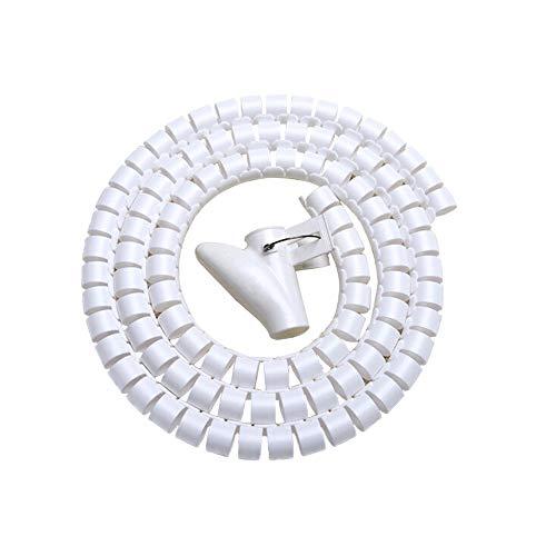 ケーブル まとめ 整理収納 バー スリーブ スパイラルチューブ ゴチャゴチャなケーブル・配線アクセサリを整理する 隠し Fanoshon 内径22mm 長さ1.5m 繰り返し利用可能 調節できる パソコン・テレビ オフィス用 (白)電線配線 保護