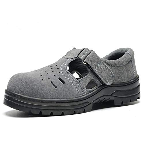 Sommer Leder Sicherheits Sandalen mit Stahlkappe Arbeitsschuhe für Herren und Damen Atmungsaktiv Komfortabel Industrie & BAU Hiking Schuhe,Gray,43EU