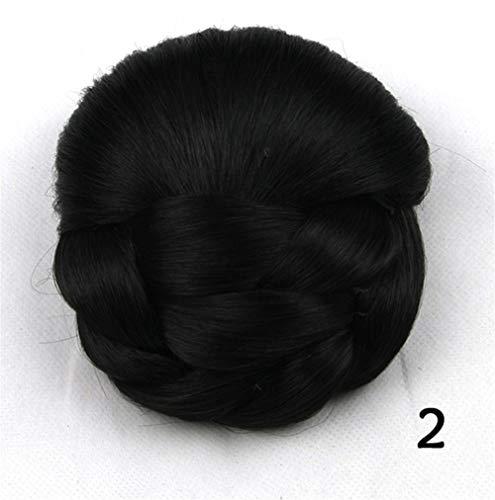 Mujer Bolsa pequeña peluca de pelo albóndiga Cabeza bolso de la novia del pelo de la horquilla de la cola de caballo Señora Puff trenza de alambre de alta temperatura pelucas sintéticas Para baile de