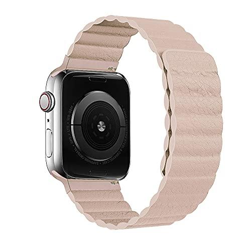 HONGKAN - Correa de piel compatible con Apple Watch 38/40/42/44 mm, correa ajustable con cierre magnético fuerte, compatible con iWatch Series 6/5/4/3/2/1/SE