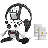 Controller Charger Station for Xbox One, Fast-Speed Dual Charging Dock/Headset Controller Stand- Included 2x850 mAh Rechargeable Battery Packs (White)