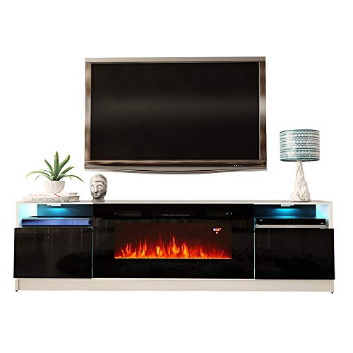 "MEBLE FURNITURE & RUGS York 02 Electric Fireplace Modern 79"" TV Stand Centers Dining Entertainment Features Kitchen Stands Television"
