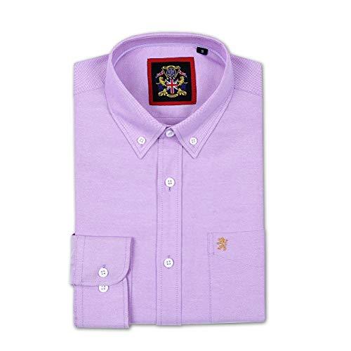 Camisa Hombres Manga LargaJaneo British Apparel, English Oxford Cuello con Botonadura, con Bolsillo y Detalles Bordados. Llevada con Corbatas Vestido Casual para Finde y Oficina. Calm Me Lavender 3XL