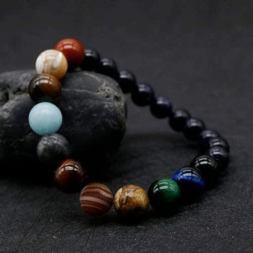 Pulsera de piedra natural, Unquie Solar System Ocho planetas Pulsera de cuentas de piedra natural con temática, Pulsera de meditación de yoga de piedra natural Joyería de bricolaje de cuentas de mujer