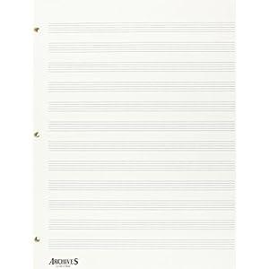 D'Addario LL12S gelochte Notenblätter mit 12 Notenzeilen, 50 Stück