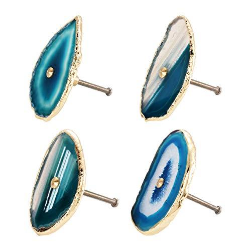 Mogokoyo - Juego de 4 pomos de ágata, hechos a mano, tiradores decorativos de cajón, con bordes galvanizados dorados (azul)