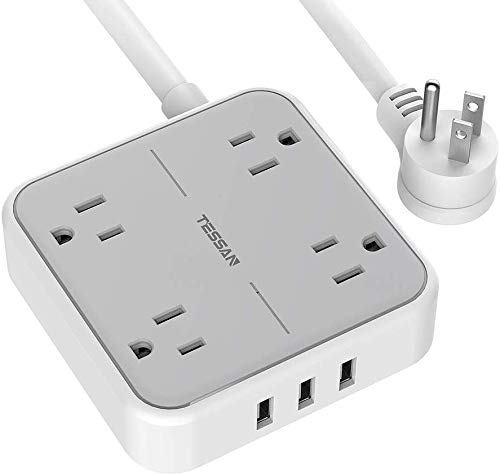 Flat Plug Power Bar, USB Power Strip with 4 Widely Spaced Outlets Charger, 3 USB Ports, 5 Feet Extension Cord, Compact Size and Lightweight Wall Mount for Cruise Ship, Home, Office, Gray