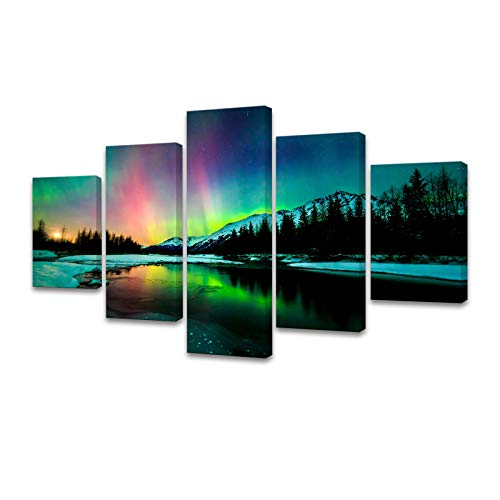 S01939 5 Pieces Wall Art Aurora Scenery Painting on Canvas Stretched and Framed Canvas Paintings...