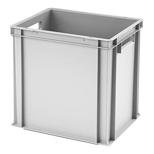 Euro-Stapelbox EB-440, 400x300x400 mm (LxBxH), verstärkter Rippenboden, grau ähnl. RAL7001, aus Polypropylen, lebensmittelecht, 2 Handgriffe, ca. 37 Liter Vol.