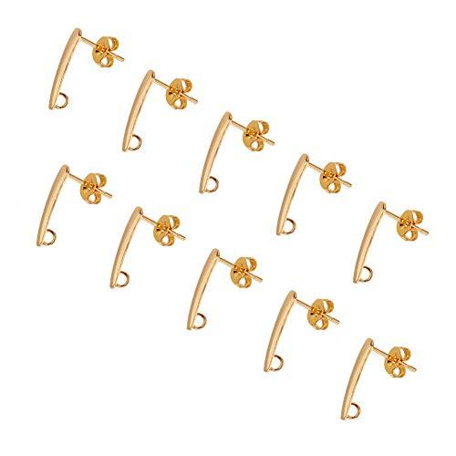 #NA 10 pendientes de acero inoxidable hipoalergénicos dorados con componentes para pendientes, pendientes de tuerca de 15 x 3 x 1 mm, agujero de 2 mm.