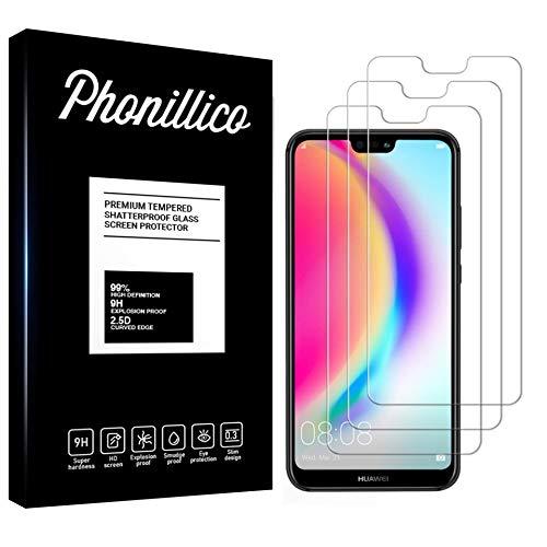PHONILLICO [Pack de 3] Verre Trempe pour Huawei P20 Lite - Film Protection Ecran Verre Trempe Ultra Resistant [Lot de 3] Vitre Protecteur Anti Rayure sans Bulle d'Air Dureté 9H Ultra Mince