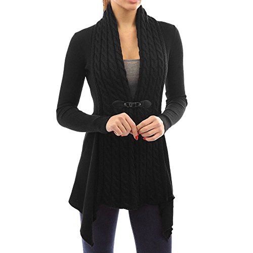 Strickjacke Damen Kolylong® Frauen Elegant Lange Strickjacke mit V-Ausschnitt Herbst Winter Warm Mantel Strick Locker Jacke Vintage Pullover Cardigan Outwear (L, Schwarz)