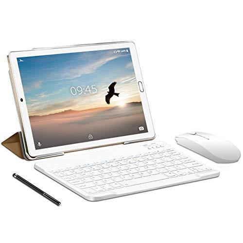 Tablet 10.0 Pulgadas YESTEL Android 10.0 Tablets con 4GB RAM + 64GB ROM -  /WiFi | Bluetooth | GPS,  8000mAH,  con Ratón | Teclado y Cubierta- Dorado