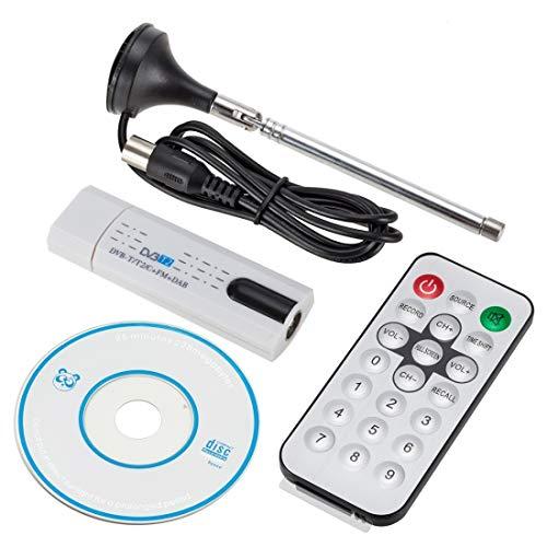 Luoshan USB 2.0 DVB-T2 Stick con Control Remoto y función de Radio FM, Compatible con MPEG-4 H.264 (AVC) y codificación MPEG 2 (Blanco)