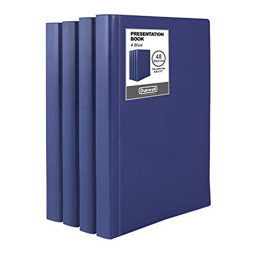 Dunwell Binder with Plastic Sleeves (Navy Blue, 4 Pack), 48-Pocket Bound Presentation Book with Clear Sleeves, Displays 96 Pages of 8.5x11 Inch Letter Size Inserts, Sheet Protector Binder