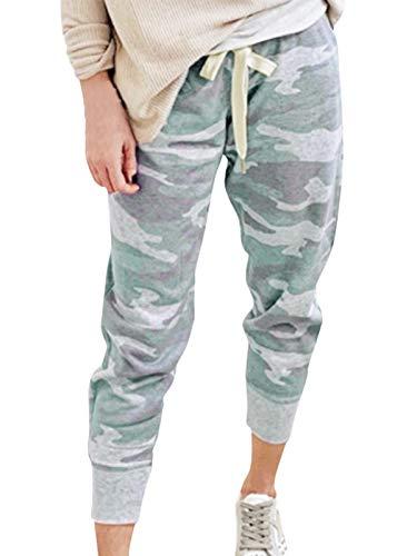 HenzWorld Damen Classic Camouflage Print Jogginghose Casual Joggerhose Damen Kordelzug Elastische Taille (Camo Grey Größe L)