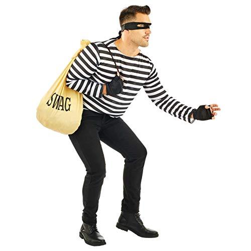 Fun Shack Negro Kit De Ladrón Disfraz para Hombres y Mujeres - Un Tamaño