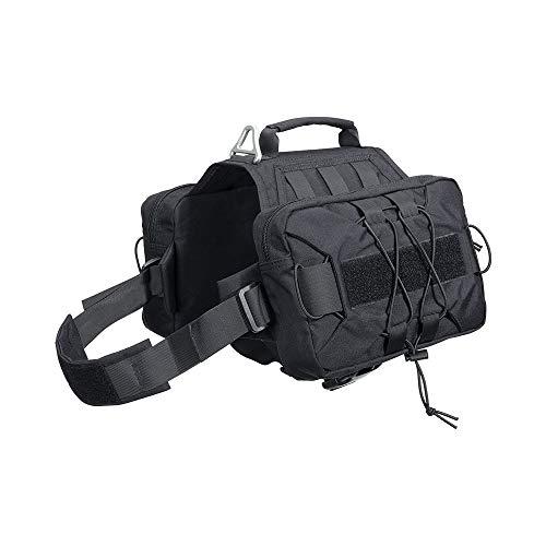 EXCELLENT ELITE SPANKER Dog Pack Hound Dog Saddle Bag Backpack for Travel Camping Hiking Medium & Large Dog with 2 Capacious Side Pockets(BLK)