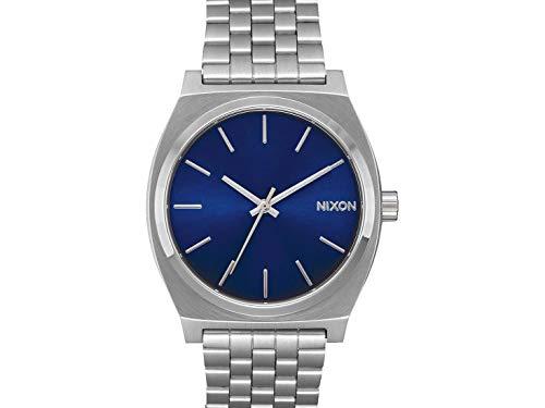 Nixon Time Teller Herrenuhr Analog Quarz mit Edelstahl Armband Blau Sunray