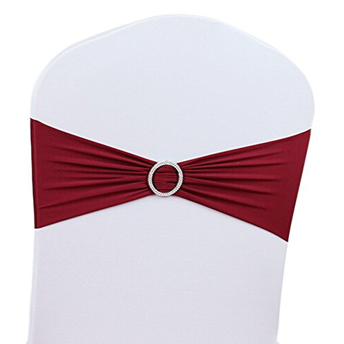 50pcs Stretch Wedding Chair Cover Band With Buckle Slider Sashes Bow Decorations Chair Covers Chair Seat Cover Decoration by zhuoshilang