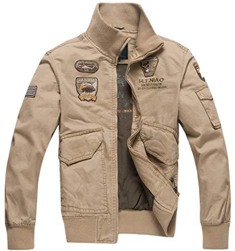 HX fashion Giubbotto Bomber in Cotone Classico da Uomo Taglie Comode Patch Air Force Giubbotti Bomber da Uomo Giacca Militare da Uomo da Uomo Abiti (Color : Khaki, Size : XL)