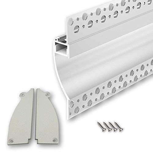 PITO96 (PT96) Trockenbau Profil Aluminium 2m weiß lackiert | Trockenbau leiste für Led Streifen bis 1,3cm Breite | Trockenbauschiene + Acryl Abdeckung milchig weiß (opal) + Endkappen |Aluprofil