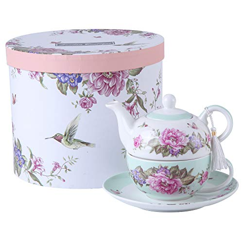 Tea for One Teapot Cup suacer Set Shaby Chic Flora Bird Rose Butterfly Porcelain Gift Box (Teal)