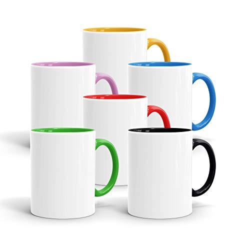 True Statements Tassen-Set zum Bemalen - 6er-Set Diverse Farben - Becher aus hochwertiger Keramik - ideal für Kindergeburtstag oder Sublimation (6B)