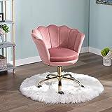 Wahson Silla giratoria de terciopelo para el hogar, silla de oficina con altura ajustable, silla de trabajo con base dorada, silla de escritorio para dormitorio o tocador (rosa)