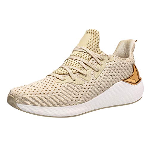 CUTUDE Hommes Mode Antidérapant Sport en Plein Air Gym Running Sneakers Respirant Confortable Léger Chaussures À Lacets pour 2020 (B - Beige 40)