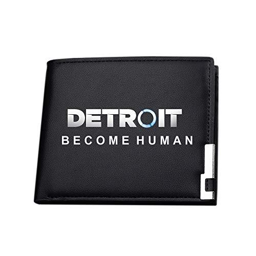 Detroit Become Human Portefeuilles Porte-Monnaie Durable Bourse Bi-Fold Gents Portefeuilles de Carte de crédit Porte-Monnaie Porte-Monnaie Portefeuille (Color : Black02, Size : 12 X 10 X 1.5cm)