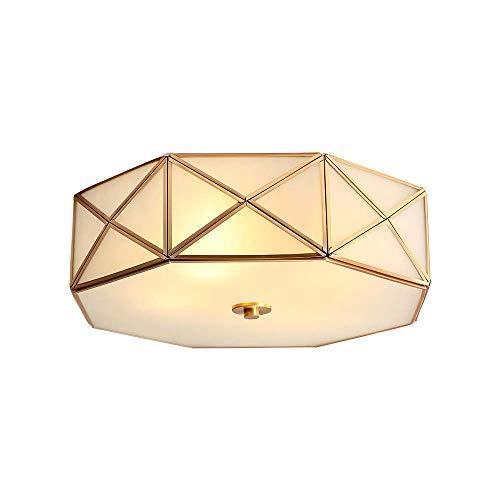 XinMeiMaoYi Lámpara de techo de cobre americano poligonal diamante poligonal Country Home moderna minimalista sala de estar lámpara de estudio lámpara lámpara de dormitorio lámpara led lámparas