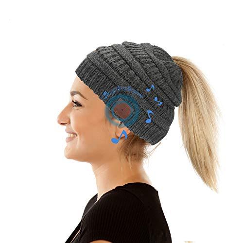 Yideng Berretto da Donna Bluetooth Berretto Donna Coda di Cavallo con Cuffia V5.0 Cappello a Cuffia Bluetooth Music Hat Lavorato a Maglia, per Corsa, Sci, Ciclismo e Sport Invernali all'Aria Aperta