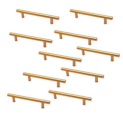 NUZAMAS - Juego de 10 tiradores y tiradores en T para puerta de armario, tiradores de cajón de muebles, aleación de zinc, 177 mm de largo, barras de armario de cocina, de centro a centro de 128 mm