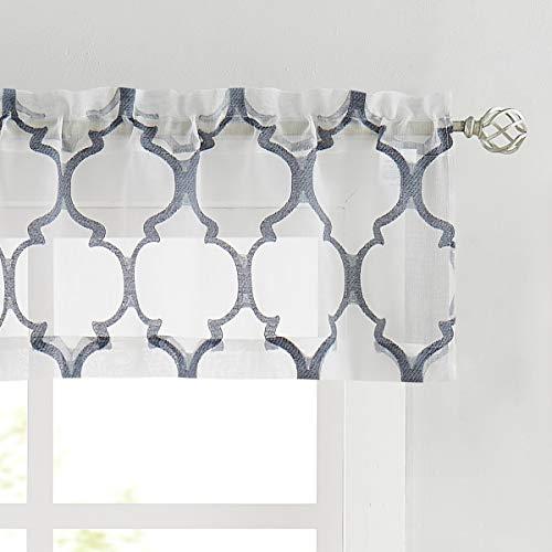 Cenefa de cortina transparente de 15 pulgadas de longitud para cafetería, cocina, baño, ventana pequeña, azul marino y blanco, tela...