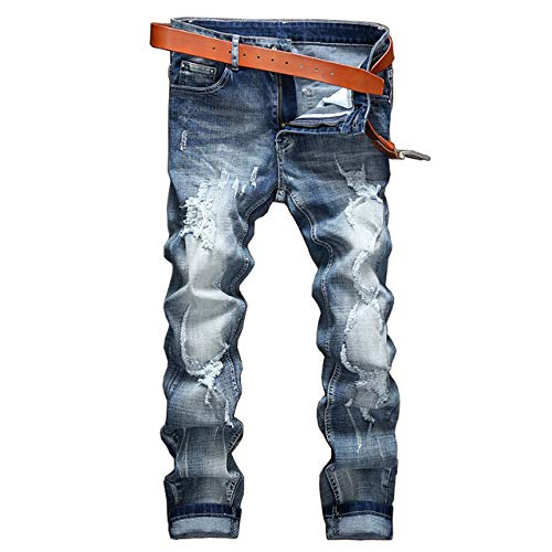 LoeayJeans para Hombres Classic Stretch Directo Nostalgia Recta Recta Talla Grande 28 38 Casual Hombre Pantalones Largos Pantalones Biker Denim Jeans