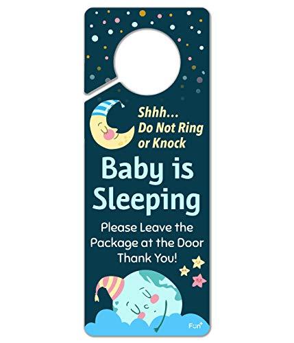 Funplus Baby Sleeping Sign - Do Not Knock or Ring - Plastic Door Knob Hanger Sign