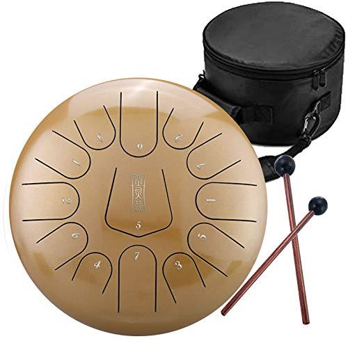DFFH Tambor de Acero para Lengua 12 Pulgadas y 13 Notas C Instrumentos de Mano con un par de mazos para meditación, Yoga, zazen,Naranja