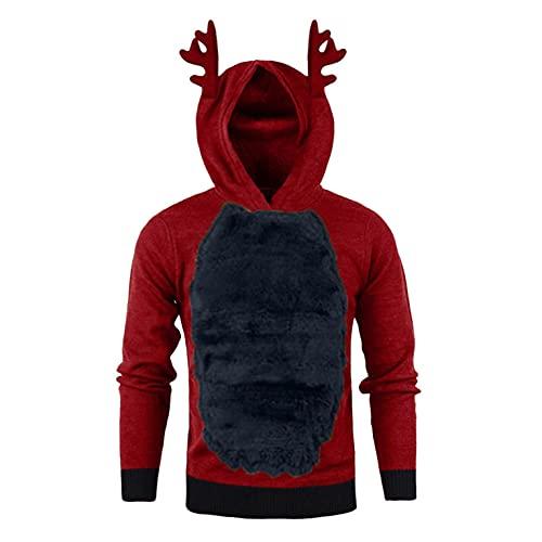 Asija Herren Sweatshirt Kapuzenpullover 3D Bluse Top Männer Herbst Winter Weihnachten Hoody Feder Mit Kapuze Weihnachten Kontrastfarbe Jacke
