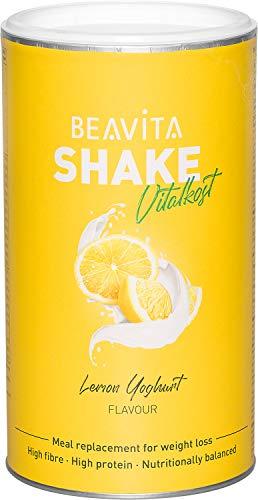 BEAVITA Vitalkost Plus - Zitrone-Joghurt Pulver 572g - Diät Shake für unbeschwertes Abnehmen - für 10 Drinks - Kalorien sparen & Gewicht reduzieren - vitaminreicher Mahlzeitenersatz Shake mit Diätplan